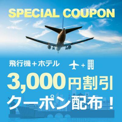 【公式HP限定】飛行機+ホテルご予約で3,000円OFFクーポンGET!